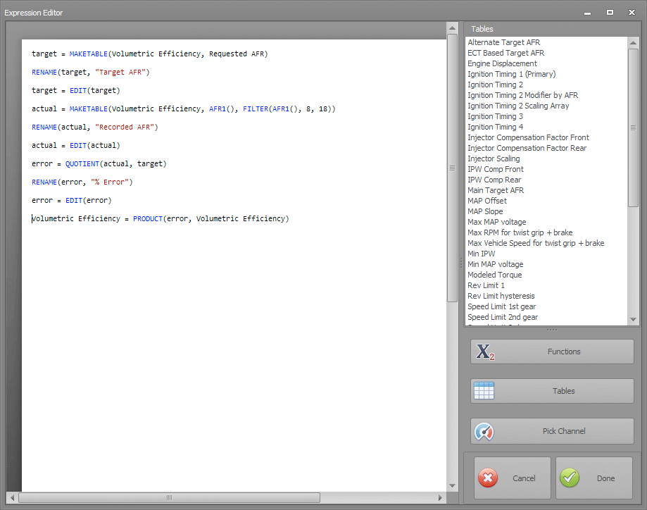 Dynojet Power Core Table Math Scripting