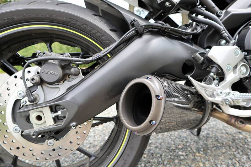 Fuel Moto FZ-09 E-Series Slip-On Kit with Billet End Cap