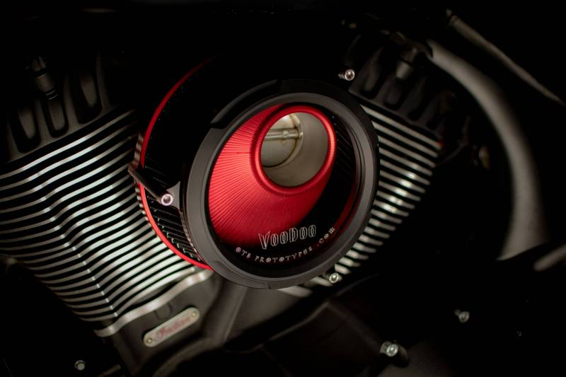 OTB - Voodoo Air Cleaner Kit (Red w/ Black Window Bezel) for Indian