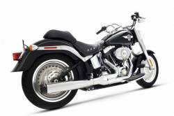 Rinehart - Rinehart - Softail 2-into-1 System Chrome with Black End Cap