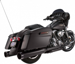 S&S Cycle - S&S Cycle - Mk45 Mufflers Black w/ Black Tracer End Caps M8