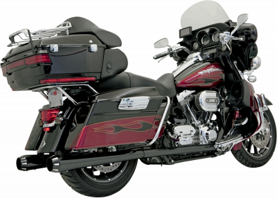 Bassani Xhaust - Bassani Xhaust +P Bagger Stepped True-Duals Systems With Power Curve - EXHAUST +P PCRV 95-14 BK