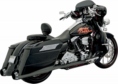 Bassani Xhaust - Bassani Xhaust +P Bagger Stepped True-Duals Systems With Power Curve - EXHAUST +P B1 95-14FL BK