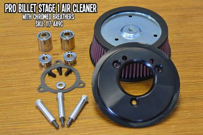 Fuel Moto - Fuel Moto Pro Billet Stage 1 Air Cleaner -FLH Throttle by Wire Models (Chrome)