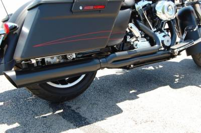 D&D - D&D - Boss Fat Cat 2-into-1 Exhaust 09-Current Back Cut 2-1, Black, Louvered Wrapped Baffle
