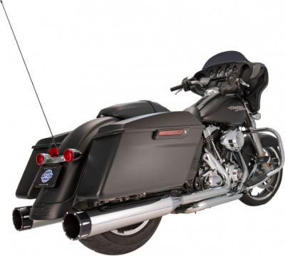 S&S Cycle - S&S Cycle - Mk45 Mufflers Chrome w/ Black Tracer End Caps