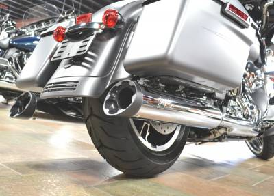 Jackpot - Jackpot Hi Roller Slip On Mufflers - Chrome with Black Slash End Caps Twin Cam