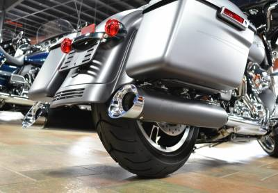 Jackpot - Jackpot Hi Roller Slip On Mufflers - Black with Chrome Slash End Caps Twin Cam