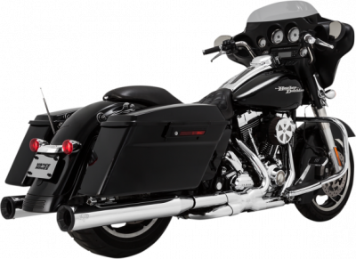 Vance & Hines - Vance & Hines - Eliminator 400 Slip-On Mufflers Chrome with Black End Caps