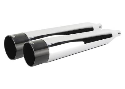 Two Brothers - Two Brothers Comp-S Chrome with Black Aluminum End Cap Slip-On Mufflers