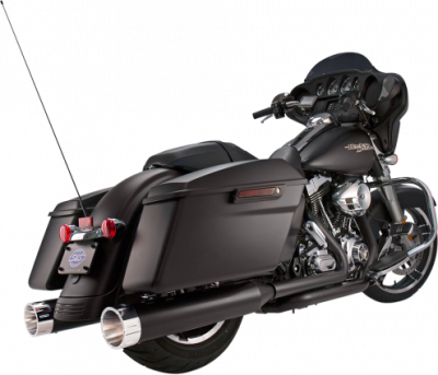 S&S Cycle - S&S Cycle - Mk45 Mufflers Black w/ Chrome Tracer End Caps M8