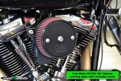 Fuel Moto AC/DC Air Cleaner running open with included cover