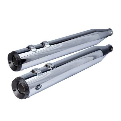 "S&S Cycle - S&S Cycle 4"" Grand National M8 Chrome Slip On Mufflers"