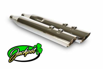 "Jackpot - Jackpot 4"" Street Outlaw Slash Down Chrome Slip On Mufflers"