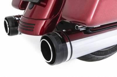 """Rinehart - Rinehart - Touring 4.5"""" Slip-On Mufflers Chrome With Black End Caps"""