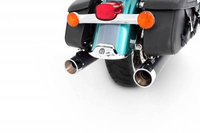 "Rinehart - Rinehart - Touring True Duals Black with Chrome End Caps (4"" Mufflers)"