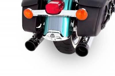 "Rinehart - Rinehart - Touring True Duals Chrome with Black End Caps (4"" Mufflers)"