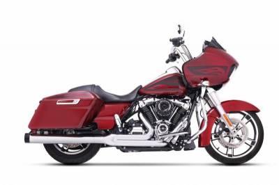 Rinehart - Rinehart 2017-Later 2-into-1 Exhaust for Harley Touring Chrome with Black End Cap