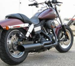 D&D - D&D - Fat Cat 2-into-1 Exhaust 06-Current Dyna Black, Perforated Wrapped Baffle - Image 1